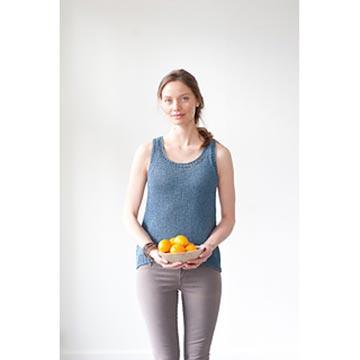Woman wearing Togue Pond tank from Quince and Co.