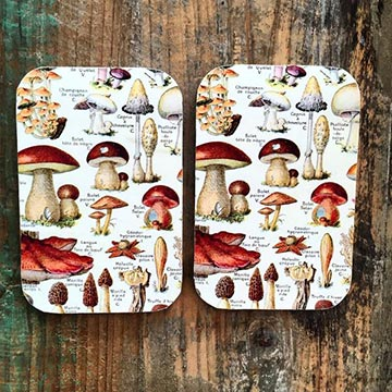 Two resin topped tins with vintage mushroom motif