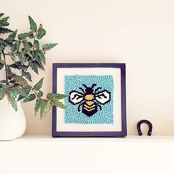 Punch Needle Kit with a bee in a frame
