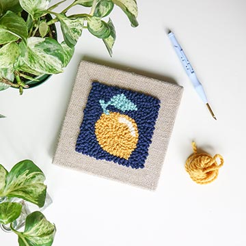 Myra and Jean punch needle kit with lemon