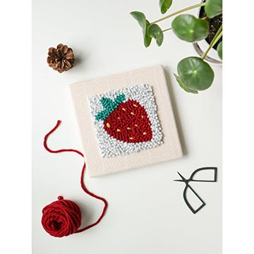 Punch needle kit with a strawberry