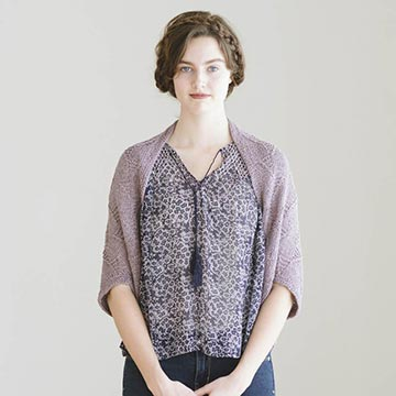 Woman wearing Bridie knitting pattern from Quince and Co