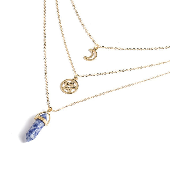 Gold Stone Crystal Necklaces