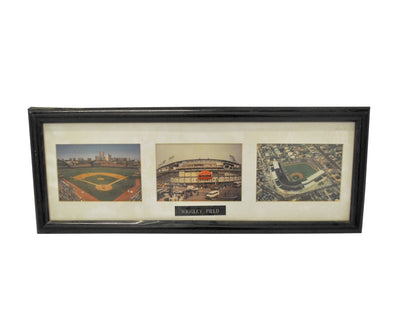 Vintage Wrigley Field Framed Glass Picture