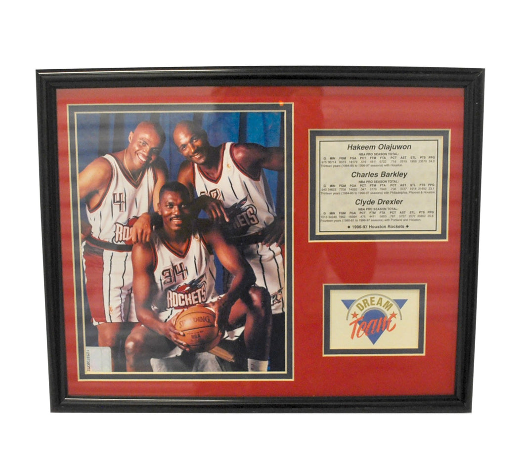 Vintage Houston Rockets Framed Glass Picture