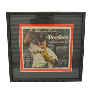 Vintage San Francisco Giants Matt Cain Perfect Game Newspaper Framed Glass Picture