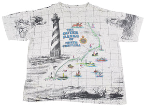 Vintage The Outer Banks Of North Carolina All Over Print Shirt Size X-Large(wide)