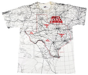 Vintage Texas Map 1993 State All Over Print Shirt Size Large