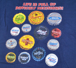 Vintage Budweiser Life is Full of Difficult Decisions Shirt Size X-Large