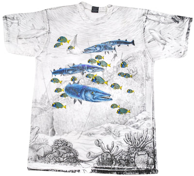 Vintage Barracuda Fish 1993 All Over Print Shirt Size X-Large(tall)