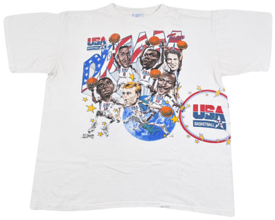 Vintage 1992 USA Dream Team All Over Print Salem Sportswear Shirt Size Large