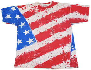 Vintage American Flag All Over Print Shirt Size X-Large