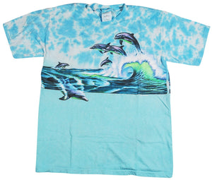 Vintage Dolphins All Over Print Shirt Size Medium