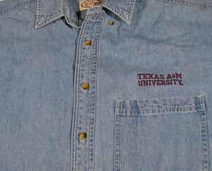 Vintage Texas A&M Aggies Denim Button Shirt Size Small