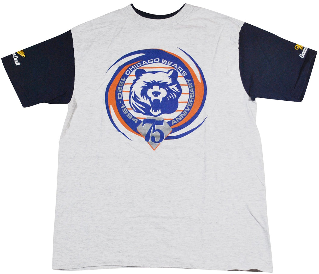 Vintage Chicago Bears 1994 75th Years Anniversary Miller Genuine Draft Shirt Size Large