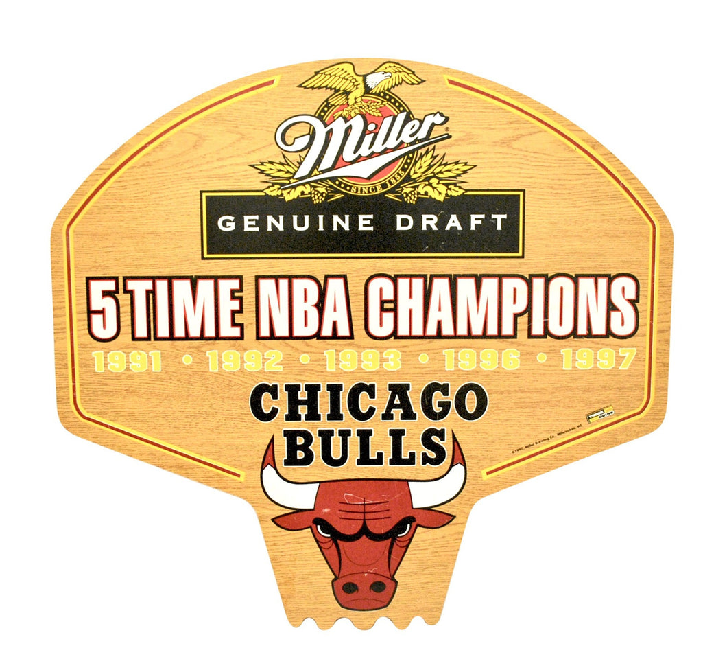 Vintage Miller Genuine Draft Chicago Bulls 5 Time NBA Champion Wooden Backboard Sign