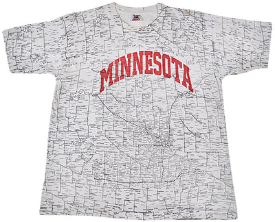 Vintage Minnesota Map State All Over Print Shirt Size X-Large