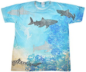 Vintage Shark Boston Museum of Science Ocean All Over Print Shirt Size Large