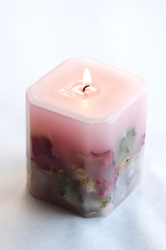 Cube Botanical Rose Candle - Goldenspirits Candle Works