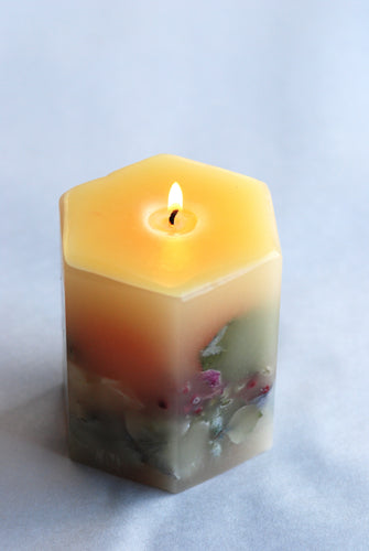 Hexagon Botanical Orange Sweet Essential Oil Candle - Goldenspirits Candle Works