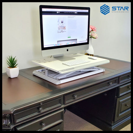 Star Ergonomics Portable Electric Standing Desk Converter, White – SE91