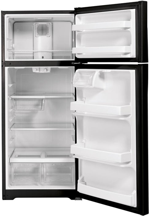 GE GTE17GTNRBB Energy Star 16.6 Cube Feet Top Freezer Refrigerator In Black