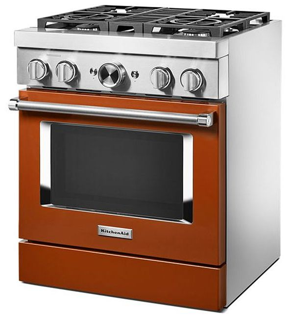 KitchenAid KFDC500JSC 30'' Smart Commercial-Style Dual Fuel Range with 4 Burners in Scorched Orange