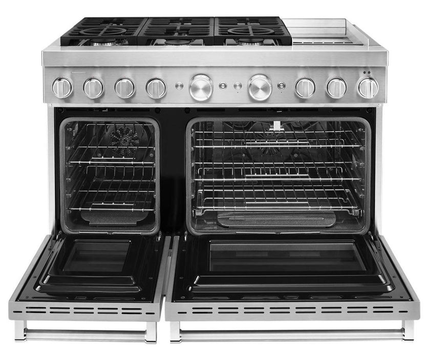 KitchenAid KFDC558JSS 48'' Smart Commercial-Style Dual Fuel Range with Griddle in Stainless Steel