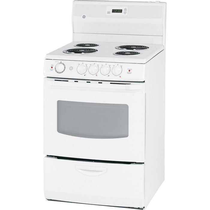 "GE JCAS730MWW 24"" 3.0 Cu. Ft. Easy Clean Electric Coil Top Range - White - Range - GE - Topchoice Electronics"