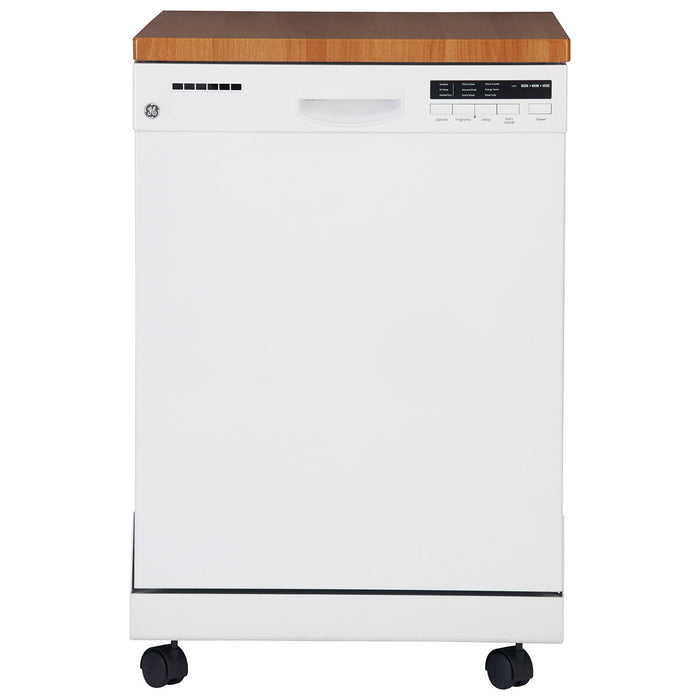 "GE GPF400SGFWW 24"" 57 dB Portable Dishwasher with Stainless Steel Tub - White - Dishwasher - GE - Topchoice Electronics"