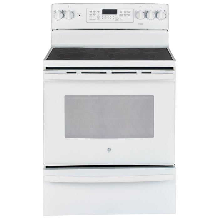 "GE JCB860DKWW 30"" 5.0 Cu. Ft. Self-Clean True Convection Freestanding Smooth Top Electric Range in White - Range - GE - Topchoice Electronics"