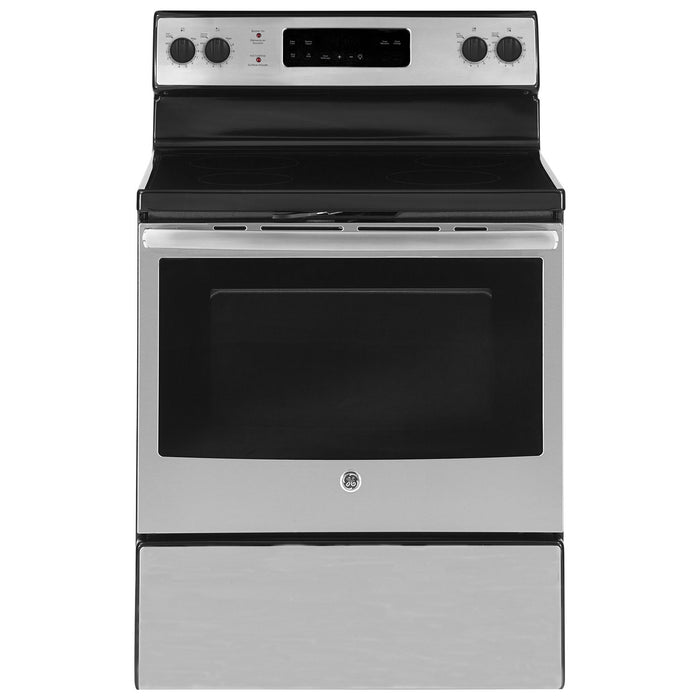"GE JCB630SKSS  30"" 5.0 Cu. Ft. Self-Clean Freestanding Smooth Top Electric Range in Stainless Steel - Range - GE - Topchoice Electronics"