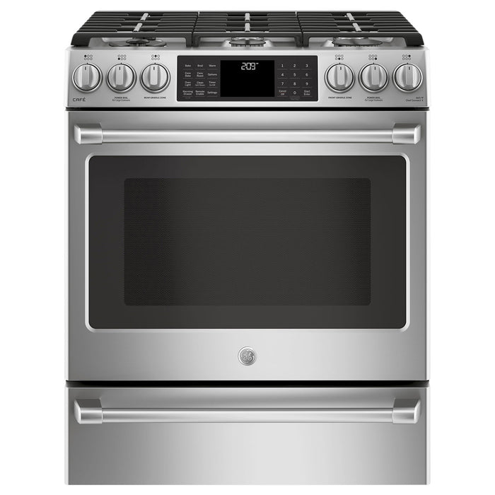 "GE CAFÉ CC2S986SELSS 30"" Self-Clean True Convection Slide-In Dual Fuel Range - Stainless Steel - Range - GE CAFE - Topchoice Electronics"