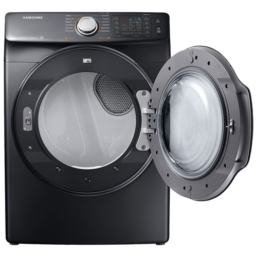 Samsung DVE45N6300V/AC 7.5 Cu. Ft. Electric Steam Dryer  - Black Stainless Steel - Dryer - Samsung - Topchoice Electronics