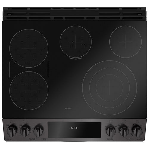 "GE Profile 30"" 5-Element Slide-In Smooth Top Electric Range - Black Stainless Steel - Range - GE Profile - Topchoice Electronics"