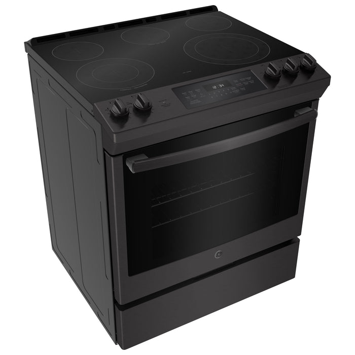 "GE JCS840BMTS 30"" 5.3 Cu. Ft. 5-Element Slide-In Smooth Top Electric Range - Black Stainless Steel - Range - GE - Topchoice Electronics"