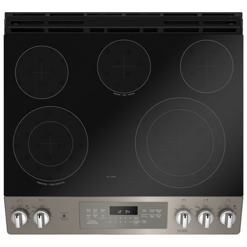 "GE JCS840EMES 30"" Self-Clean True Convection 5-Element Slide-In Smooth Top Electric Range - Slate - Range - GE - Topchoice Electronics"