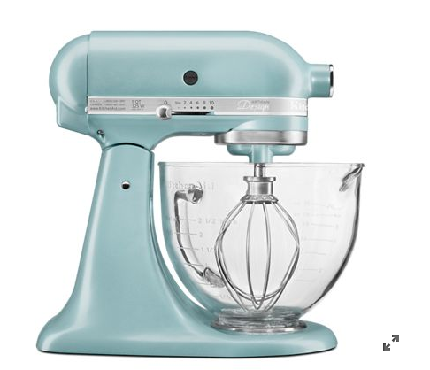 KitchenAid KSM155GBAZ Artisan Design Series 5 Quart Tilt-Head Stand Mixer With Glass Bowl In Azure Blue