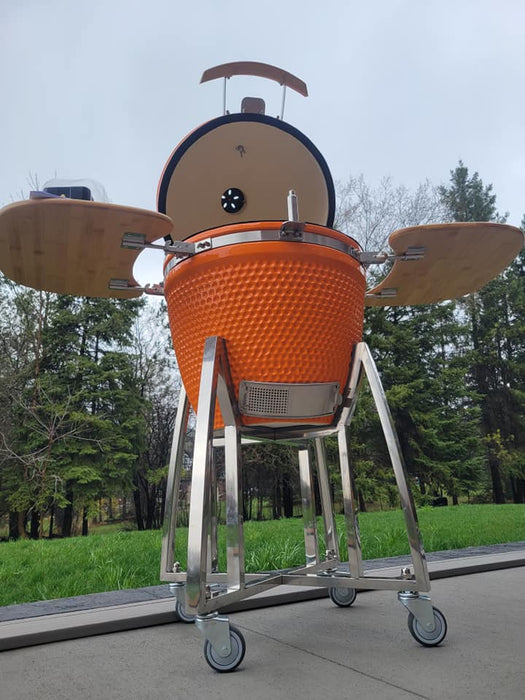 Hsn 21 inch Kamado Professional Ceramic Charcoal BBQ in Orange with Rotisserie Kit and Wheel Cart
