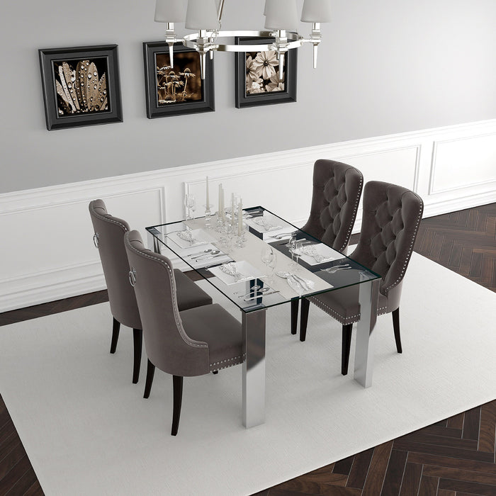 World Wide Frankfurt/Rizzo 207-165/080GY 5pc Dining Set Chrome/Grey