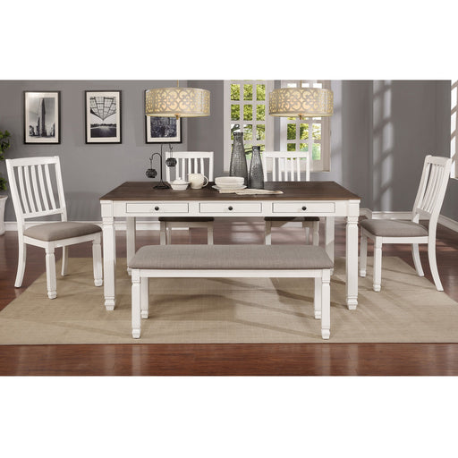 Worldwide Highlands 207-279WT-6PK 6pc Dining Set In White Table/White Bench/White Chair
