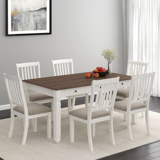 World Wide Highlands 207-279WT-7PK 7pc Dining Set White/White