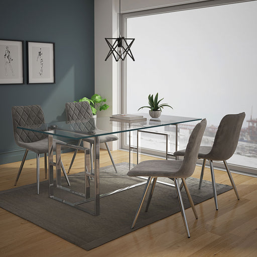 World Wide Eros/Marlo 207-482CH/110GY 5pc Dining Set Chrome/Grey