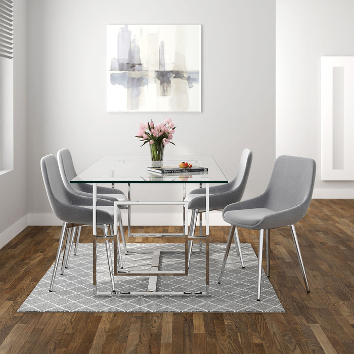 World Wide Eros/Cassidy 207-482/330GY 5pc Dining Set Chrome/Grey