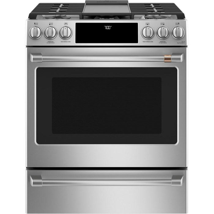 GE Café™ CCGS700P2MS1 30-Inch 5.6 cu ft Slide-In Front Control Gas Oven with Convection Range In Stainless Steel