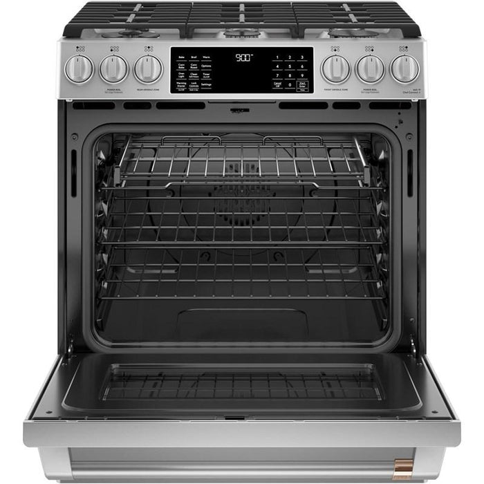 GE Cafe CC2S900P2MS1 30-Inch 5.7 cu ft Slide-In Front Control Dual-Fuel Convection Range In Stainless Steel