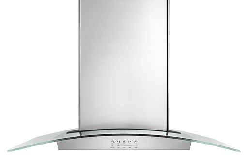"Whirlpool WVW75UC0DS 30"" Modern Glass Wall Mount Range Hood - Stainless Steel"