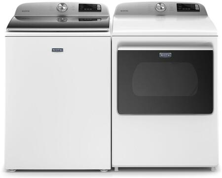 Maytag 5.4 cu. ft. Smart Top Load Washer with 7.4 cu. ft. Smart Electric Dryer in White