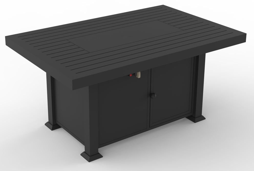 FlameHaus Blaze Rectangle Gas Firepit - 55,000 BTU 52 in (D) x 34 in (W) x 24 in (H) - Black Aluminum with Bonus Cover and Glass windscreen