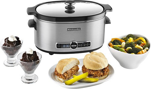 KitchenAid - KSC6223SS 6-Quart Slow Cooker with Solid Glass Lid - Stainless-Steel - Slow Cooker - KitchenAid - Topchoice Electronics